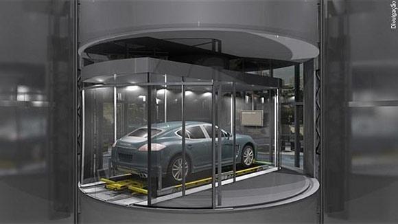 carro lindo no elevador